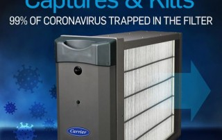 Carrier's Air Purifier Captures & Kills® 99% of all viruses and bacteria, including COVID-19.